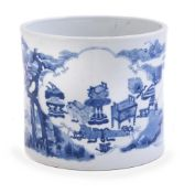 A large Chinese blue and white brush pot