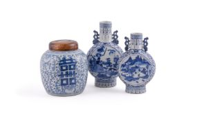 Two Chinese blue and white Moon flasks