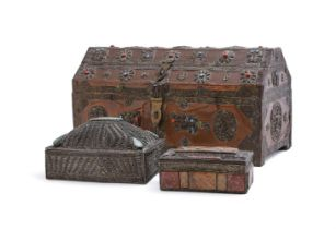 Y A Tibetan Chest with sheet copper overlay and two others