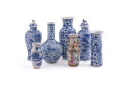 A group of Chinese blue and white vases
