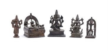 Five small Indian bronze images 18th or 19th c