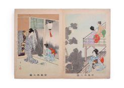 "Miyagawa Shuntei (1873-1914): An Album of Twenty-Four oban Woodblock Prints from his series ""Ukiyo n"