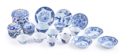 A group of various blue and white tea wares