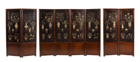 A pair of Chinese hardwood screens with hardstone inlay