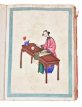 An album of Chinese paintings of ladies undertaking Artistic pursuits