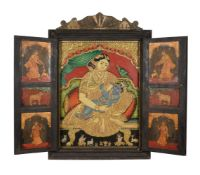 A large Tanjore painting depicting Yashoda with the infant Krishna