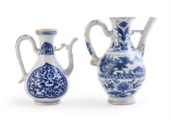 Two blue and white ewers