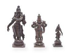 Three South Indian bronze figures of Hindu deities 18-19th c