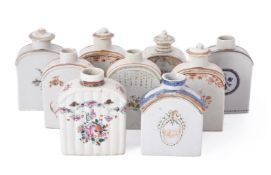 A collection of nine Chinese Export tea canisters