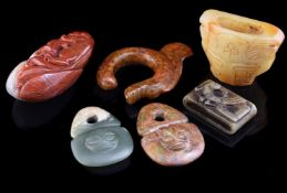 Two Chinese archaic jade style toggles with masks