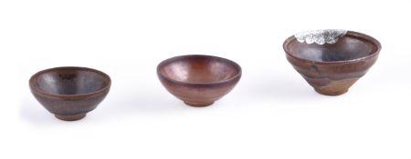 Three Jian black glazed bowls