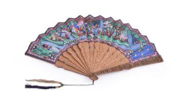 A Chinese painted 'Mandarin' fan