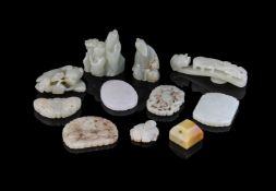 A white jade belt hook and ten other jade carvings and pendants