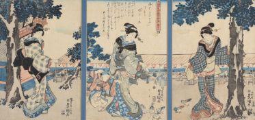 Utagawa Toyokuni II (1786-1864): An Ukiyo-e Woodblock Printed Triptych
