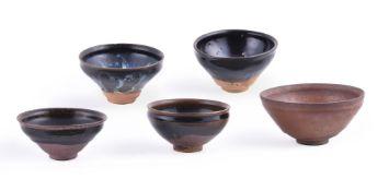 Five Jian black glazed bowls