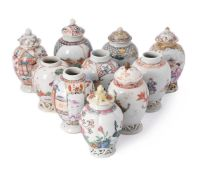 A group of nine Chinese Export tea canisters