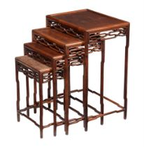 A nest of Chinese hardwood quartetto tables