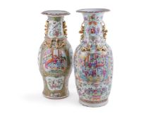 Two large Cantonese Famille Rose vases