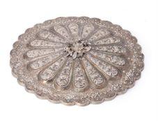 An Ottoman silver-repoussé mirror