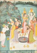 A Rajput warrior being offered water by courtly ladies at a well