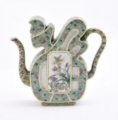 A Chinese famille verte 'fu' wine pot and cover