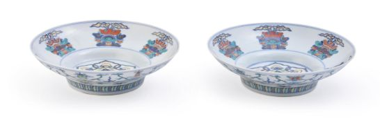 A pair of Chinese Doucai ogee-form bowls