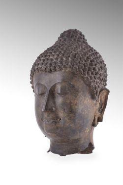 A fine Sukhothai bronze head of Buddha c.14th century