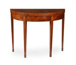 Y A George III mahogany, inlaid, and tulipwood crossbanded card table