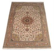 A part silk Persian rug