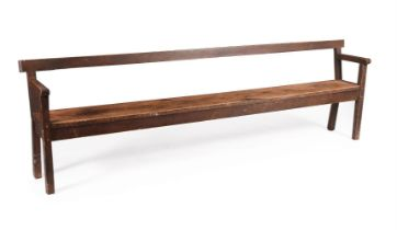 A pine hall bench or seat