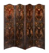 A Victorian painted and embossed leather four fold screen in 17th century style