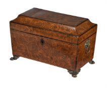 A Regency penwork tea caddy