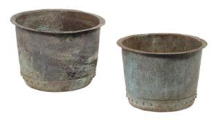 Two copper log buckets