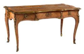 Y A Victorian tulipwood and gilt metal mounted bureau plat