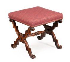 A Victorian walnut X framed stool