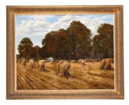 British School (19th century), Landscape with wheat sheaves
