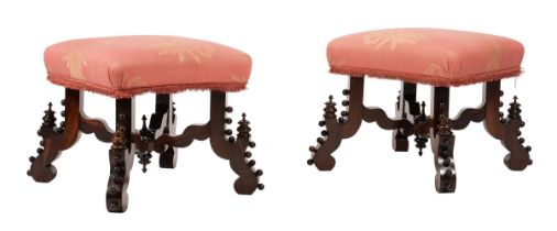 Y A pair of Victorian rosewood stools