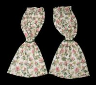 A pair of curtains, recently manufactured from Jean Monro rhododendron sprig pattern fabric