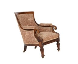 Y A William IV rosewood and upholstered armchair