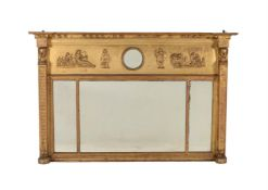 A late George III giltwood and composition overmantel wall mirror