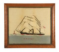 A woolwork picture of the Royal Navy ship HMS Ruby