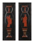 A pair of painted wood panels in the Etruscan style