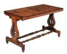 A Victorian walnut and marquetry library table