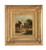 Attributed to William Frederick Hulk (British 1852-1906), A study of a cow in a landscape