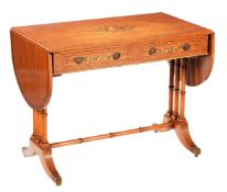 A Sheraton Revival satinwood and polychrome painted sofa table