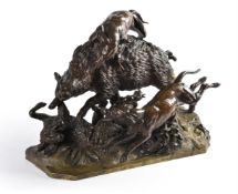 A French bronze animalier group depicting a wild boar hunt