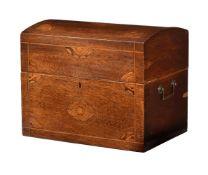 A Continental mahogany and inlaid decanter box