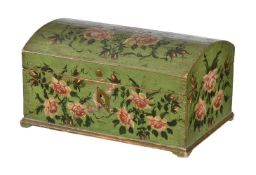 A Scandinavian, probably Swedish, polychrome painted small coffer or box