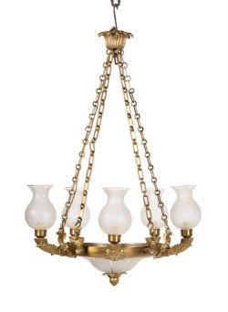 A gilt metal chandelier in Regency taste