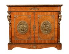 Y A kingwood, burr walnut, and gilt metal mounted side cabinet in Napoleon III style